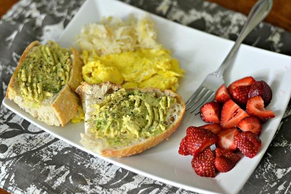 Avocado toast, eggs and sauerkraut