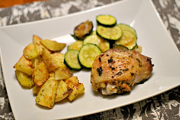 Baked Chicken Thighs with Roasted Potatoes and Sauteed Zucchini