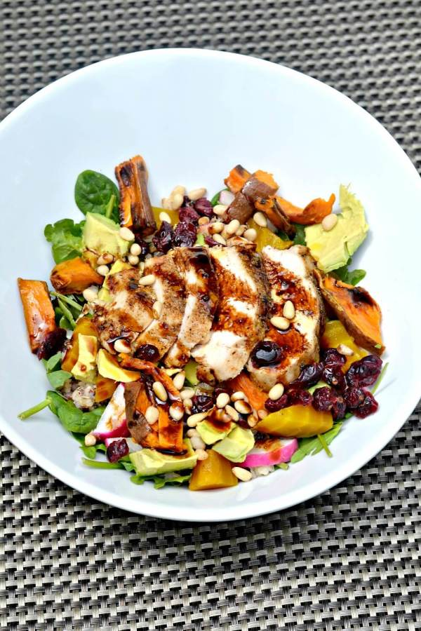 Salad with Spinach, Arugula, Sprouted Quinoa and Wild Rice, Avocado, Radishes, Pine Nuts, Golden Beets, Dried Cranberries, Roasted Sweet Potatoes and Chicken Breast