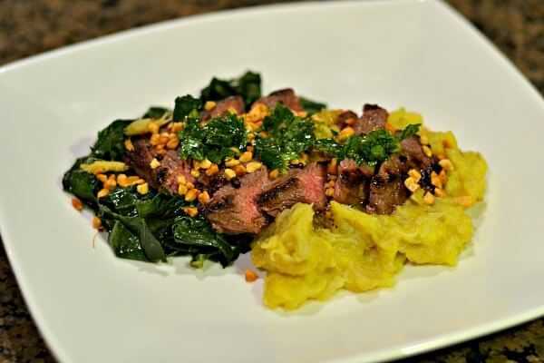 Blue Apron Grains of Paradise Steak with Mashed Plantains and Gingered Peanuts