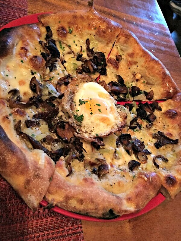 Mushroom and Truffle Cream Pizza at Wolfgang Puck Kitchen + Bar
