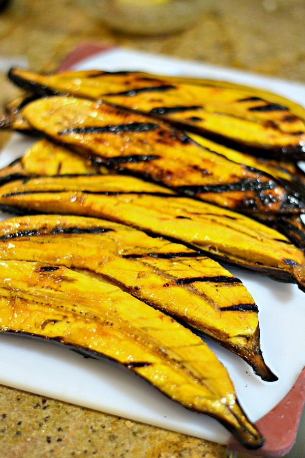 Grilled Plantains with a Brown Sugar Butter Glaze