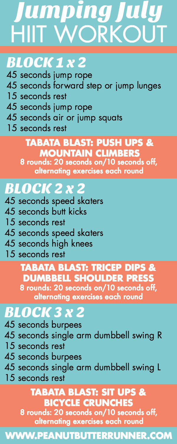 This 35-minute HIIT workout features blocks of 45 second intervals followed by tabata blasts. Get ready for a ton of jumping and sweating and a total body burn!