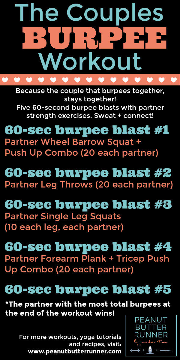 This burpee-themed partner workout features five rounds of 60-second burpee blasts interspersed with bodyweight partner strength exercises for a total body cardio and strength challenge...and an awesome bonding experience! The couple that burpees together, stays together!