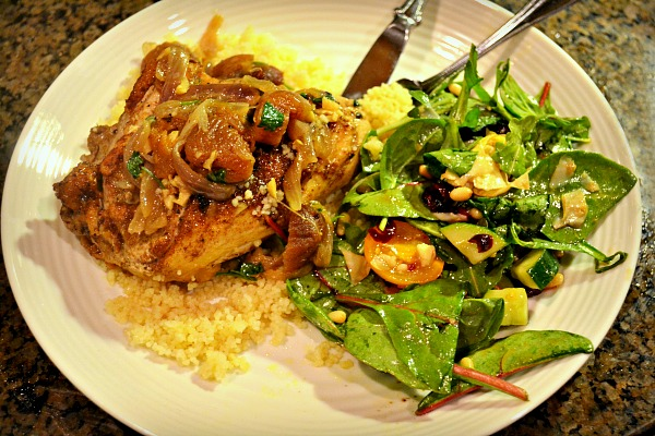Chicken Tagine with Apricots over Couscous