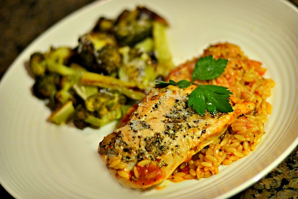 Herbs de Provence chicken and orzo skillet with roasted broccoli