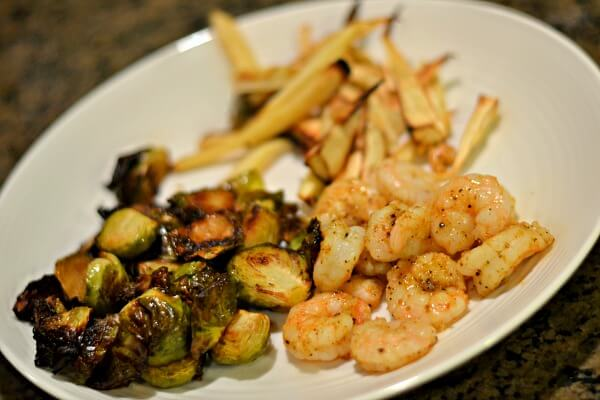 sauteed shrimp, roasted brussels sprouts and roasted parsnips