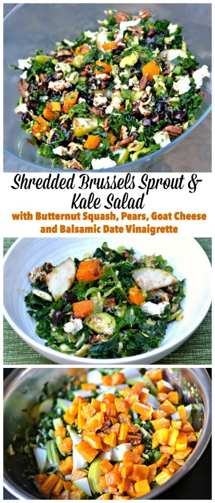 Healthy holiday salad! Shredded brussels sprout and kale salad features roasted butternut squash, sliced pears, toasted pecans and honey goat cheese topped with a chopped date and balsamic vinaigrette.