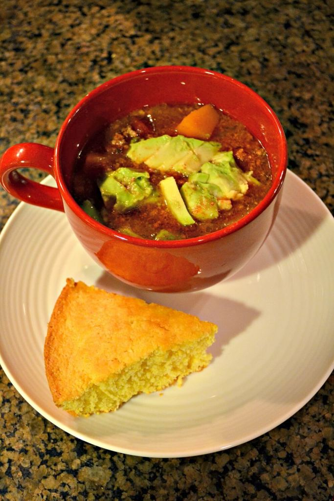 Slow Cooker Sweet Potato Chili and Cornbread