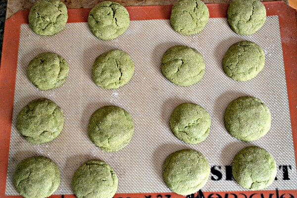 Soft and chewy chai spiced sugar cookies with matcha powder.