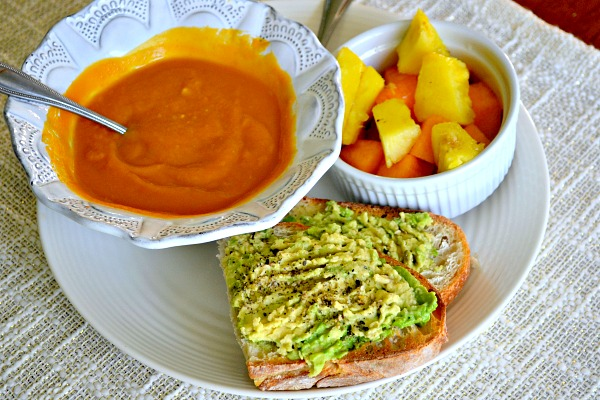 Avocado Toast and Carrot, Butternut, Ginger Soup
