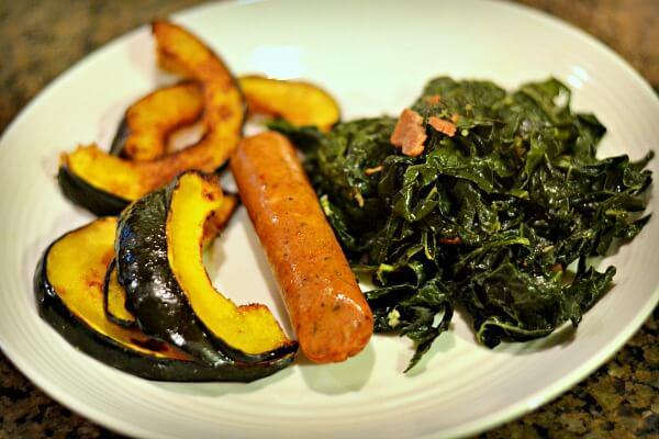 Acorn squash, chicken sausage and kale
