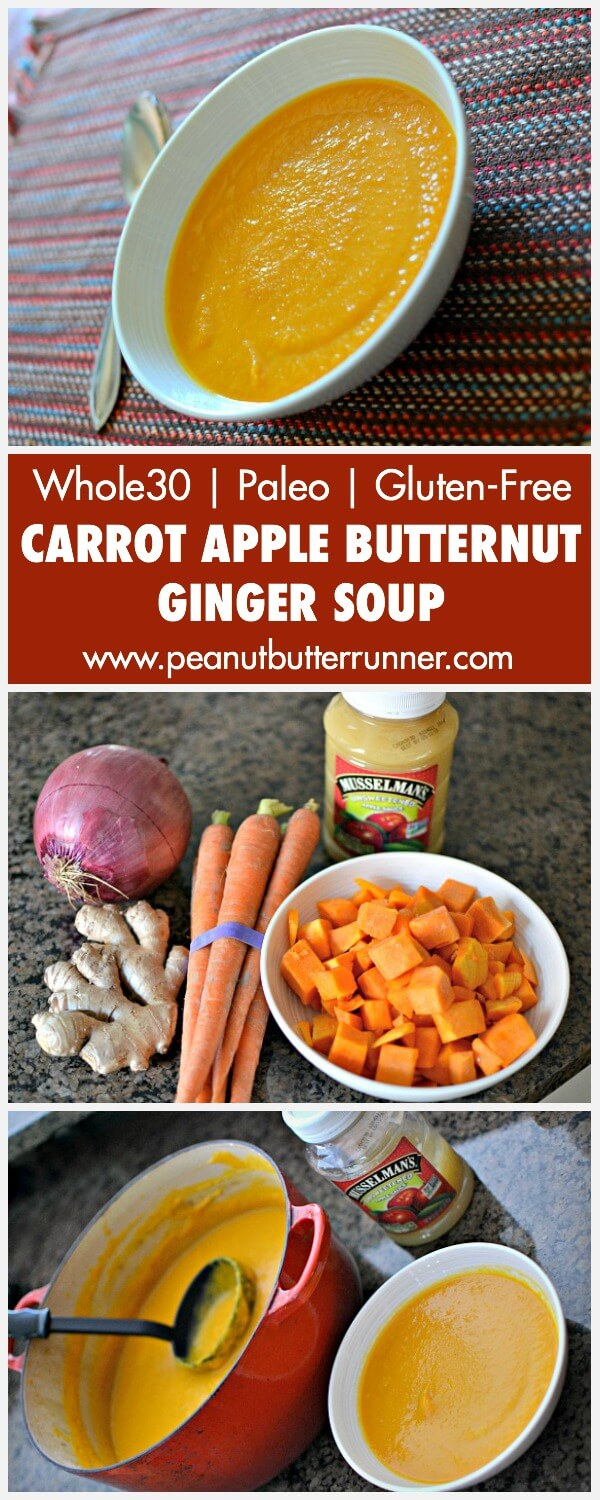 This Carrot Apple Butternut Ginger Soup is a breeze to prepare and is ...