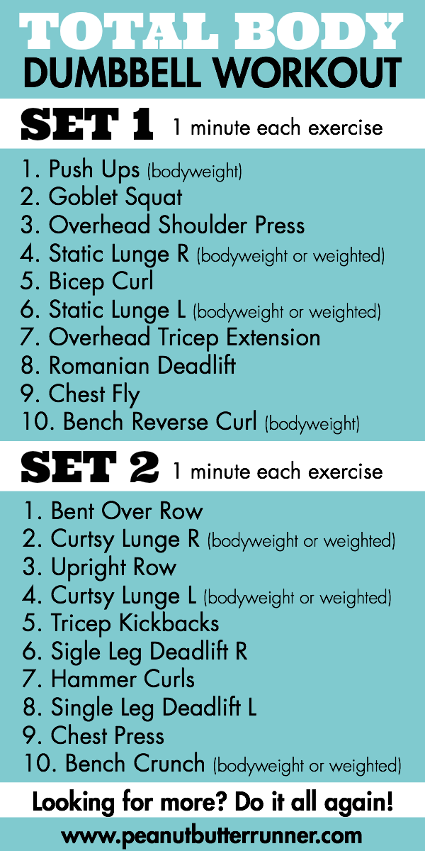 A total body strenght workout using dumbbells. Options for a 21 minute or 43 minute workout!