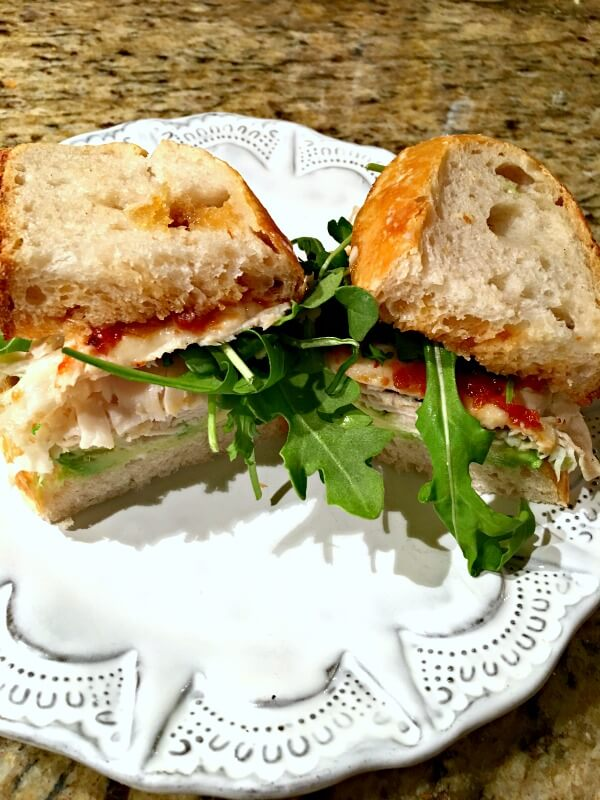 Sourdough, mayo, avocado, turkey, goat cheese and Chef Alyssa's champagne tomato jam