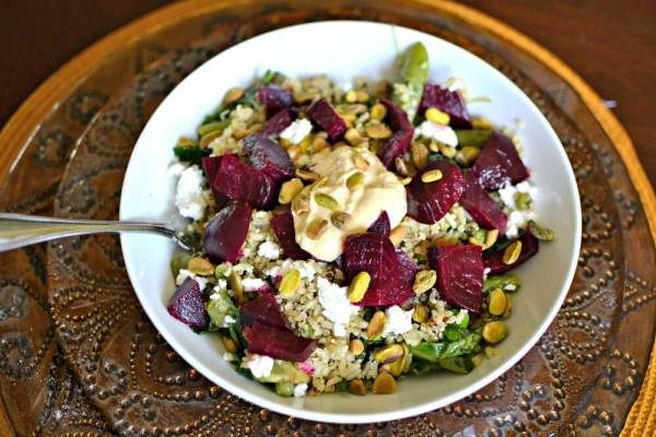 greens, grains and beets salad