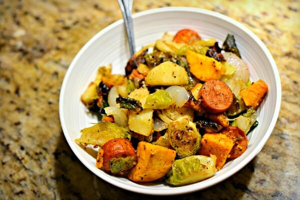 roasted spicy chicken sausage, brussels sprouts, a sweet potato, parsnips and sweet onion