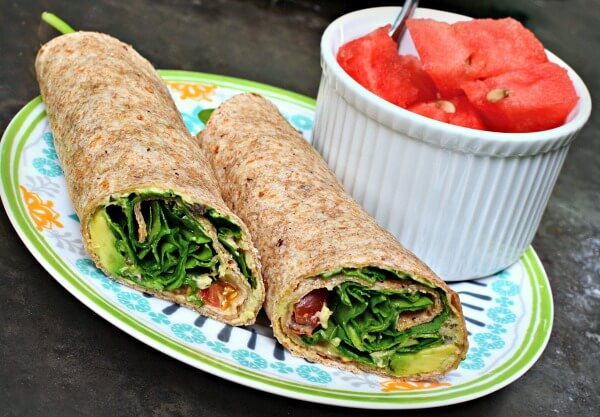 wrap with hummus, avocado and spinach