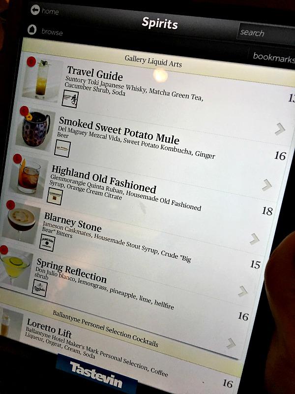 tablet drink menu