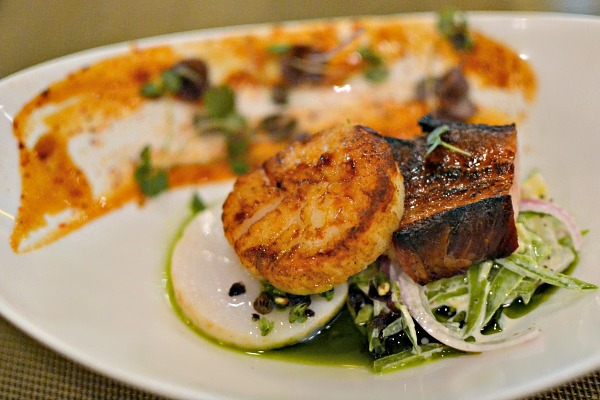 seared scallops and pork belly