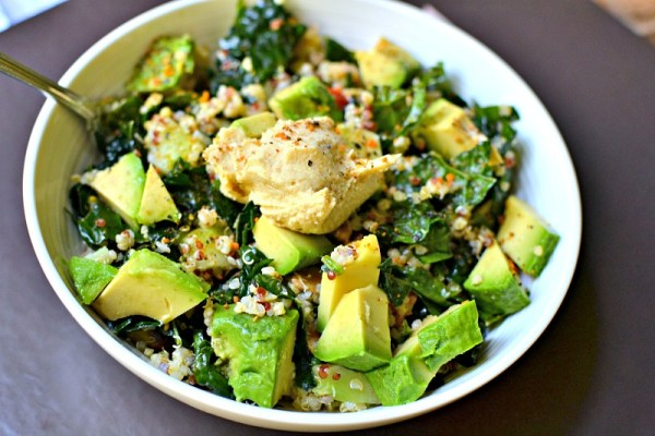 kale and super grain salad with hummus
