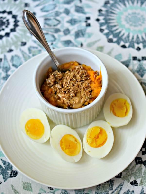 sweet potato breakfast bowls and hardboiled eggs