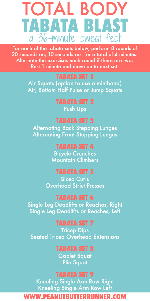 Total Body Tabata Blast Workout: A 36-Minute Sweat Fest. This workout combines bodyweight and dumbbells for an efficient and effective total body strength and cardio workout.