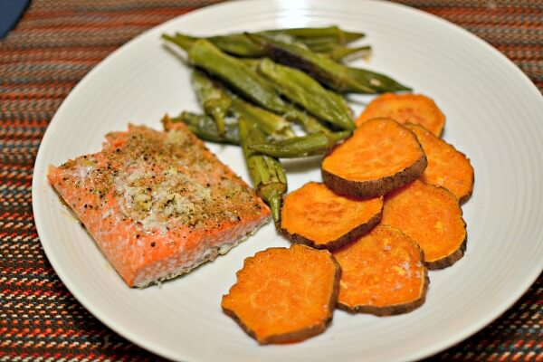 lemon parmesan salmon with roasted okra and sweet potatoes
