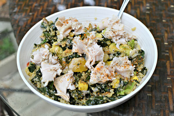lunch was kale and quinoa salad mixed with avocado and topped with sliced turkey from the Whole Foods deli