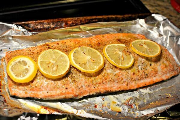 Lemon parmesan baked salmon.