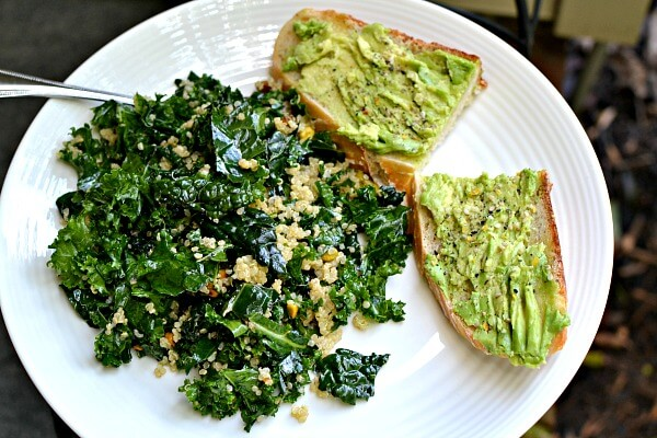 kale and quinoa salad and avocado toast