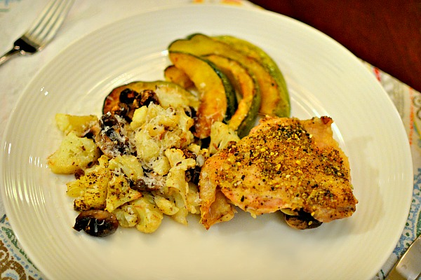 Baked chicken thighs, roasted mushrooms and cauliflower and roasted acorn squash