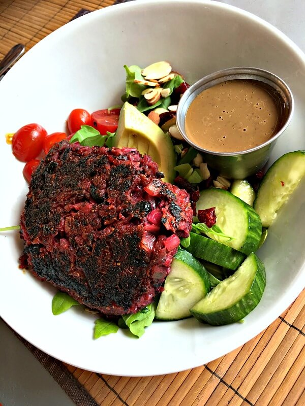 Beet burger salad at Namastay Kitchen