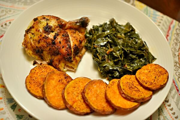 Rotisserie chicken leg/thigh quarter from WF, braised collards and roasted sweet potatoes.