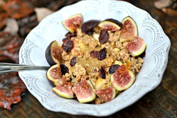 Fage full-fat Greek yogurt sweetened a bit with Trader Joe's pumpkin butter and then topped with diced banana, Whole Foods pumpkin apple granola, Trader Joe's sunflower seed butter, dried cranberries and quartered figs.