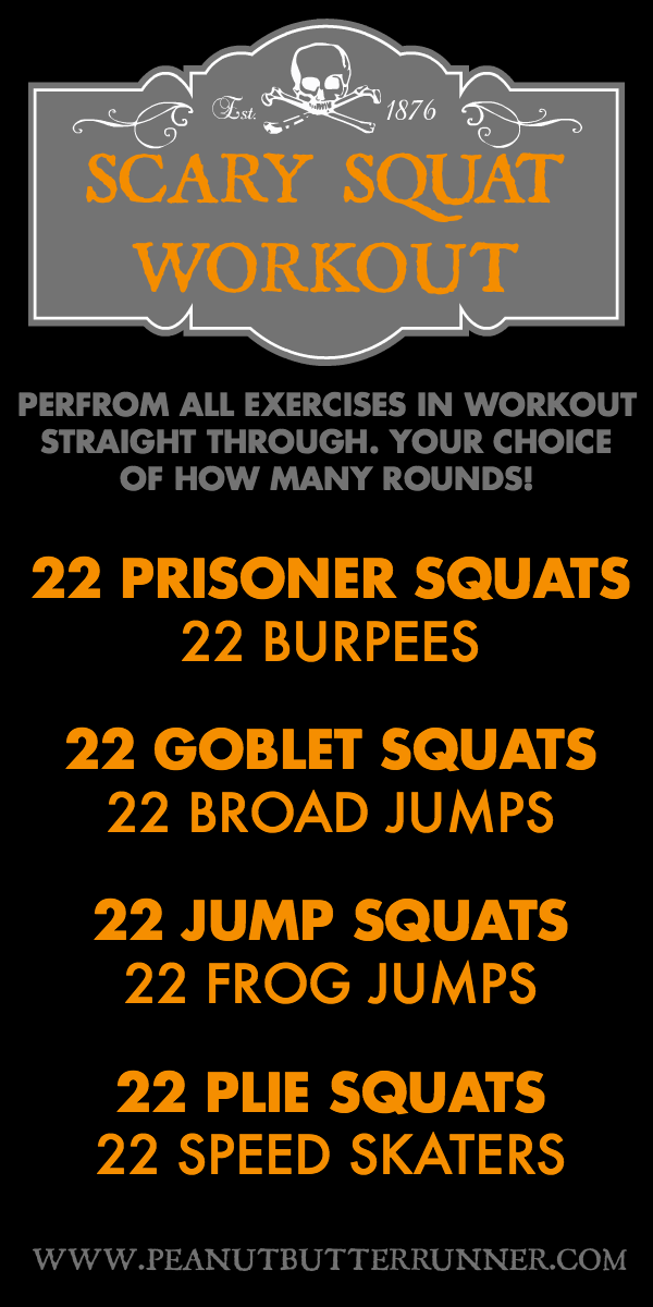 Scary squat workout combining squat variations and cardio for a quick but intense workout.