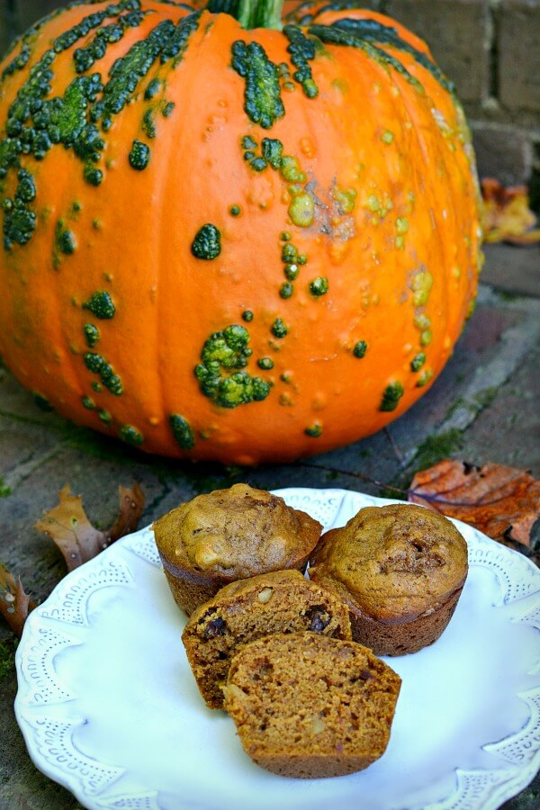 Soft and Caky Pumpkin Muffins with Dates and Nuts