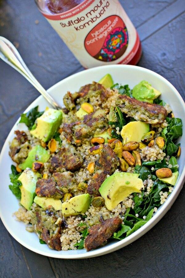 Kale + quinoa with avocado, pistachios, a veggie burger and Tessemae's green goddess dressing.