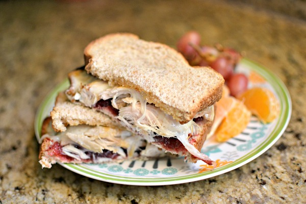 Cranberry sauce, mayo, leftover turkey and provolone cheese on honey wheat and all heated/melted under the broiler.