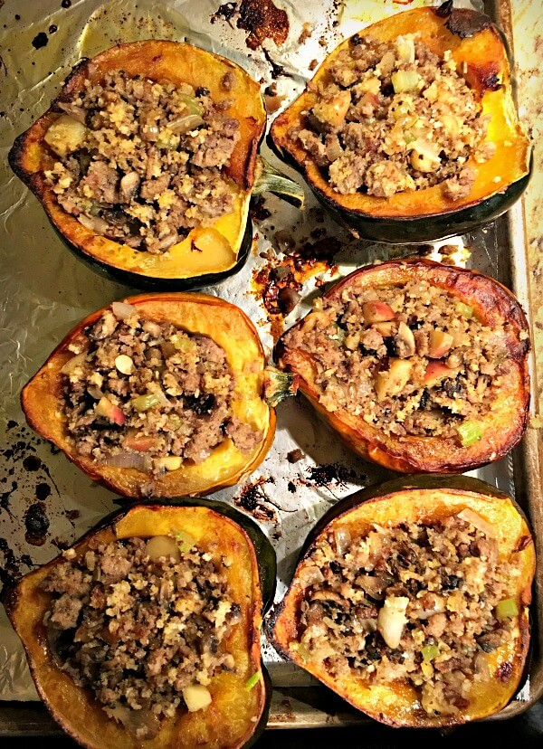 acorn squash with an Italian sausage, apples, mushrooms, celery, shallots and breadcrumb stuffing