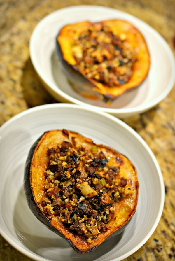 acorn squash with sausage and apple stuffing