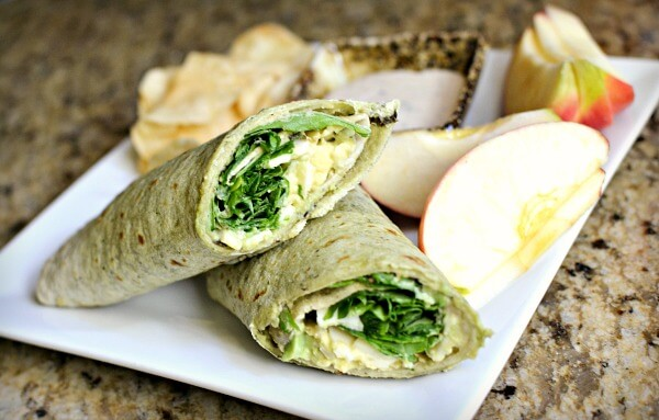 Wrap with hummus, provolone, arugula and avocado. Apple slices and salt and vinegar chips on the side as well as some simply caesar dressing for dipping