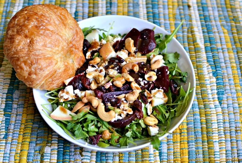 arugula, beets, feta, avocado, apples, cashews and dried cranberries