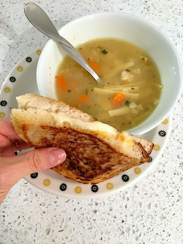 grilled cheese and chicken noodle soup