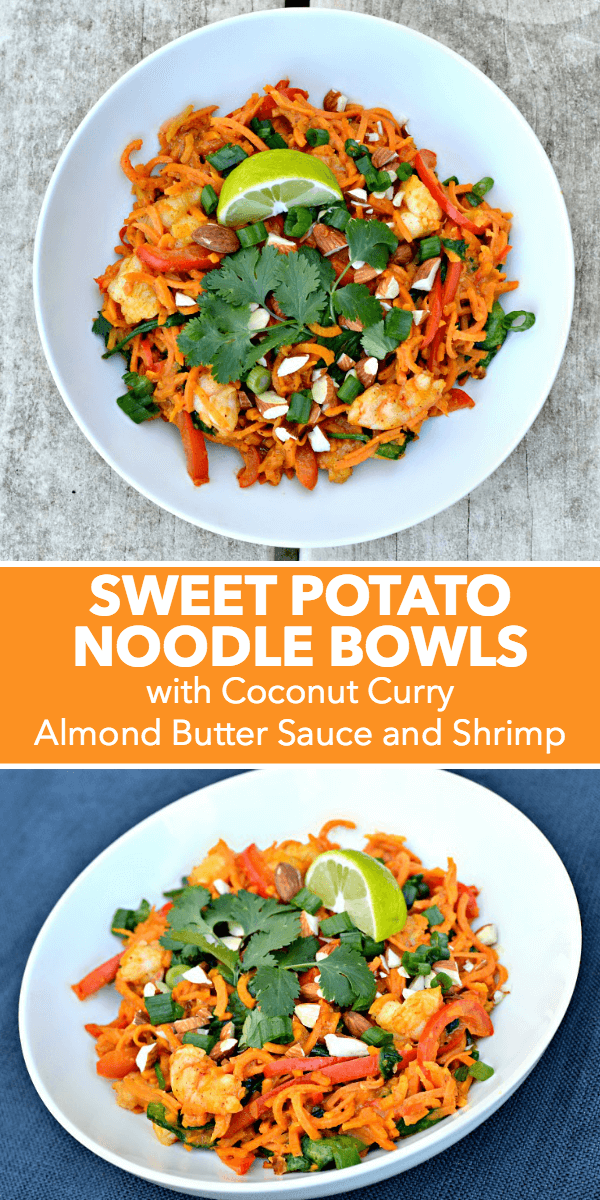 A recipe for Sweet Potato Noodle Bowls with Coconut Curry Almond Butter Sauce and Shrimp. Options for gluten-free, Whole30 and Paleo!