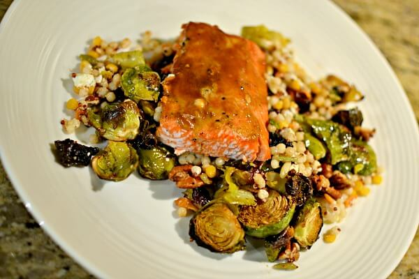 cous cous, brussles sprouts and salmon