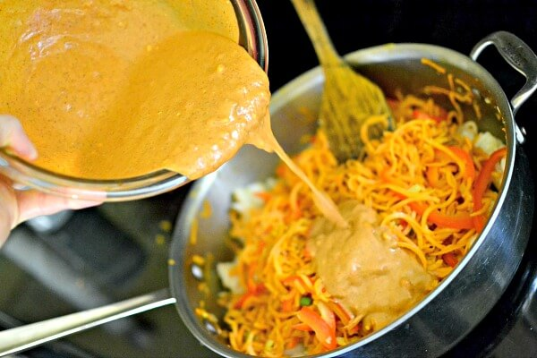 Sweet Potato Noodle Bowls with Coconut Curry Almond Butter Sauce