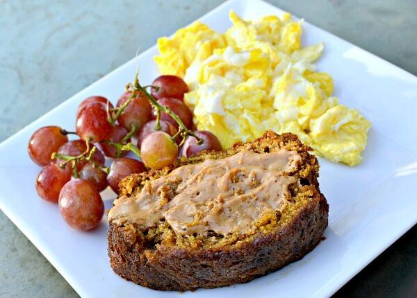 pumpkin bread, grapes and eggs