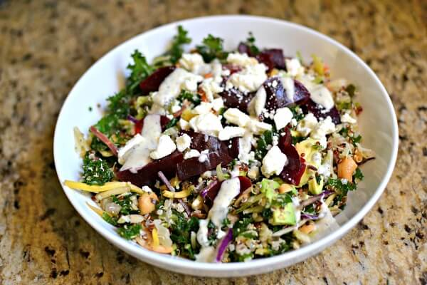 greens and quinoa salad with avocado, beets and creamy ranch