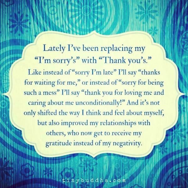 replace I'm sorry with thank you